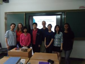 Lecturing to a group of international students in China