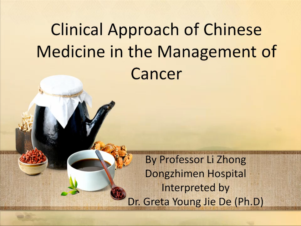 slide from seminar on chinese medicine treatment of cancer